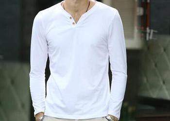 2020 new Spring popular men Cotton long sleeve T-shirt white blue An