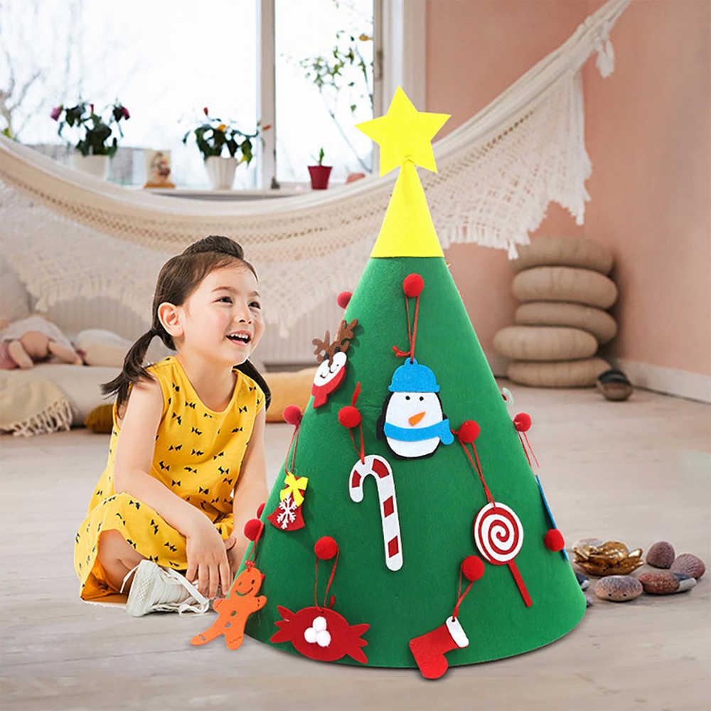 ילדים DIY הרגיש חג המולד עץ עם קישוטי ילדי מתנות ראש שנה חג המולד דלת קיר תליית קישוט חג ספקי