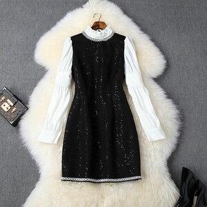 Image 1 - Lange ärmeln Nagel wulst kleid xl 2019 neue Überlegene qualität Frauen damen sexy hemd Party Kleid Prominente Halten warme kleider