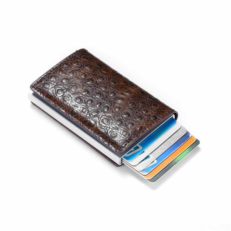 BISI GORO ince ince erkek cüzdan Rfid akıllı cüzdan kredi kart tutucu Metal geçiş gizli Pop Up Minimalist cüzdan küçük siyah çanta