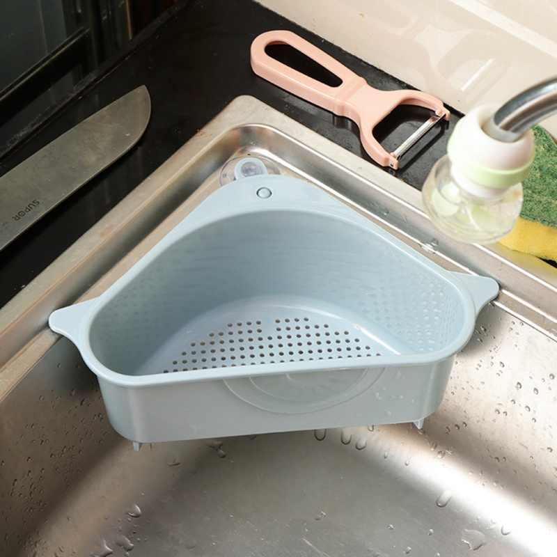 Dreieck Waschbecken Abfluss Regal Multifunktionale Lagerung Inhaber Korb Drain Rack Küche Sauger obst Korb Punsch Installation Kostenlos
