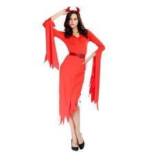 New Red Demon Costume Cosplay For Women Halloween Adult Carnival Party Suit Dress Up