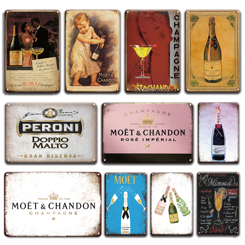 Vintage Champagne Tin Sign For Tiki Bar Room Decorative Plaque Retro France Moet & Chandon Poster Metal Plate Living Room Decor