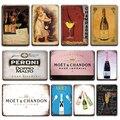Винтажный оловянный Плакат цвета шампанского для Tiki Bar Room декоративная табличка Retro France Moet & Chandon, металлическая пластина, декор для гостиной