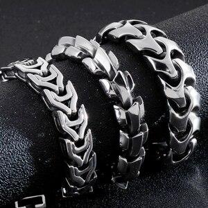 Image 2 - Pulsera de acero inoxidable de gran tamaño para hombre, brazalete de Metal pesado de 20/22/24CM de largo, joyería de mano masiva