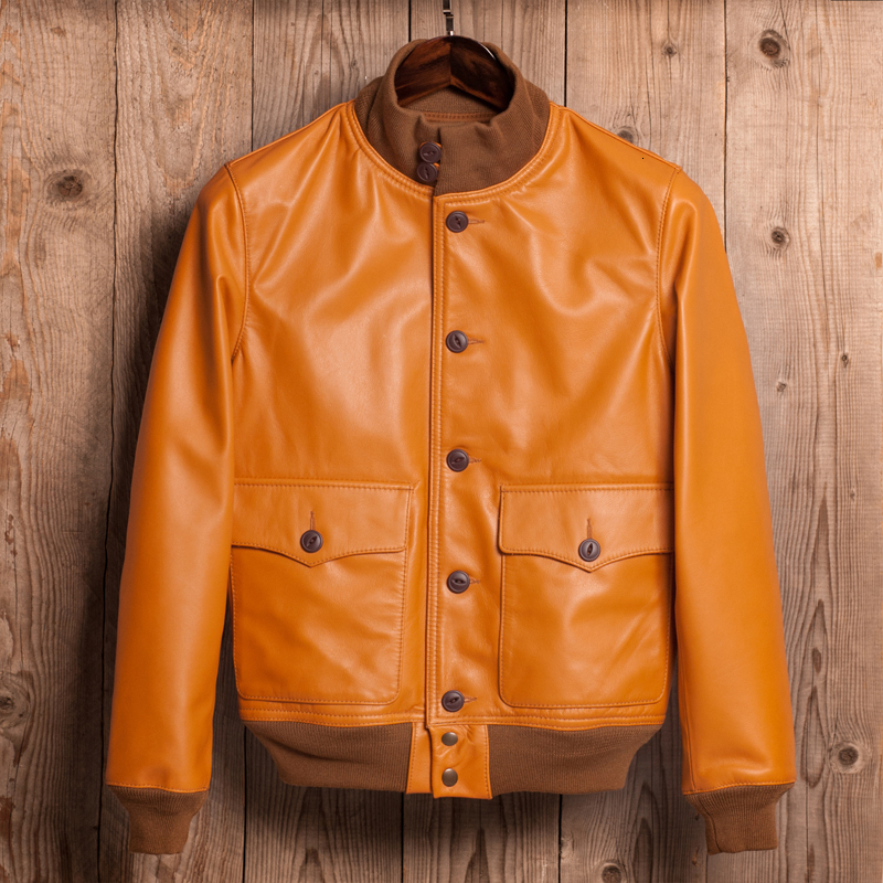 Genuine Leather Bomber Jacket Men Cow Leather Jacket Korean Motorcycle Slim Mens Leather Jacket Jaqueta De Couro M6228 YY1000