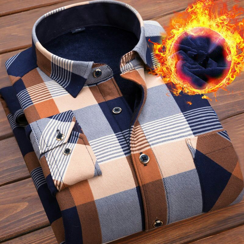 Winter Thick Velvet Dress Shirt For Men Casual Long Sleeve Plaid Warm Fleece Lining Shirts Fashion Soft Flannel Plus Size L-4XL