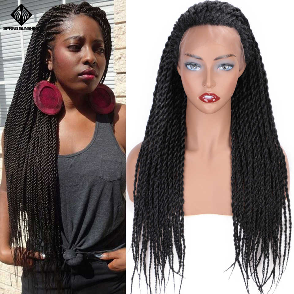 Spring sunshine 26inch Synthetic Twist Braided Lace Front Wigs Senegalese Twist Braids Wig for Black Women