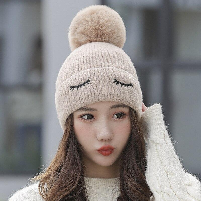 Women Hat Warm Velvet Fleece Inside Winter Hats For Women Pompom Hat Knitted Girls Cap S1009 I