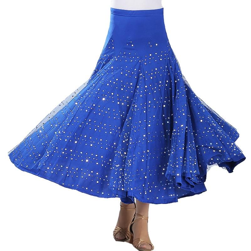 B Women Solid Color High Waist Sequins Polka Dot Modern Dance Skirt Ballroom Dance Big Swing Skirt Waltz Ballroom Dance Skirt