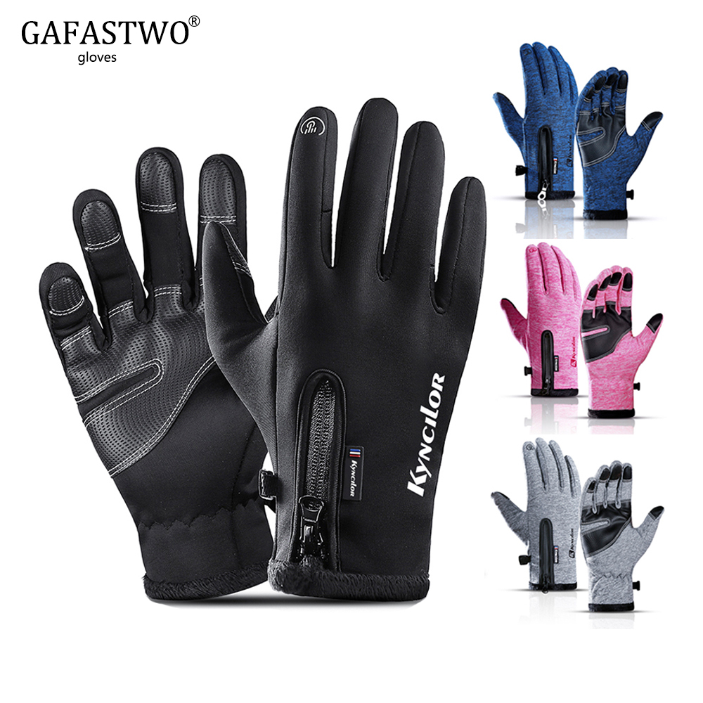 Winter Warm Touch Screen Mens Gloves Fashion Ladies Waterproof Fleece Outdoor Sports Windproof Riding Women Gloves Zipper