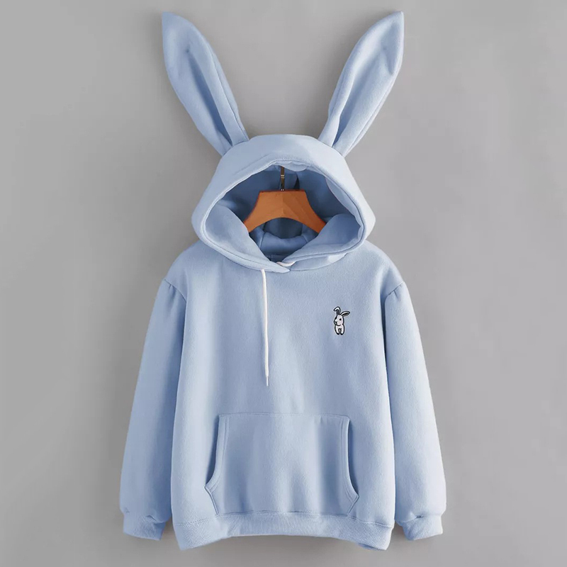 Cute Hoodies Women Long Sleeve Rabbit Embroidered Sweatshirt Pullover 2020 Harajuku Autumn Winter Lovely Rabbit Ears Hoodie Tops