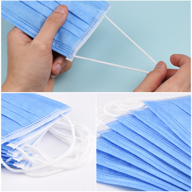 In Stock Fast shipping Medical Mask Anti Flu Safe Face Masks Mouth Cover Non-woven Disposable Earloops Adult Surgical Mask Blue 4