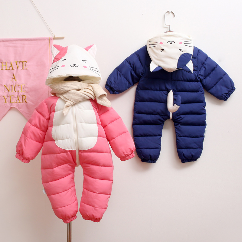 New Winter Plus Velvet Warm Overalls Kids Coat Baby Wear Newborn Snowsuit Boy Warm Romper Down Cotton Girl Clothes Bodysuit 0-1Y