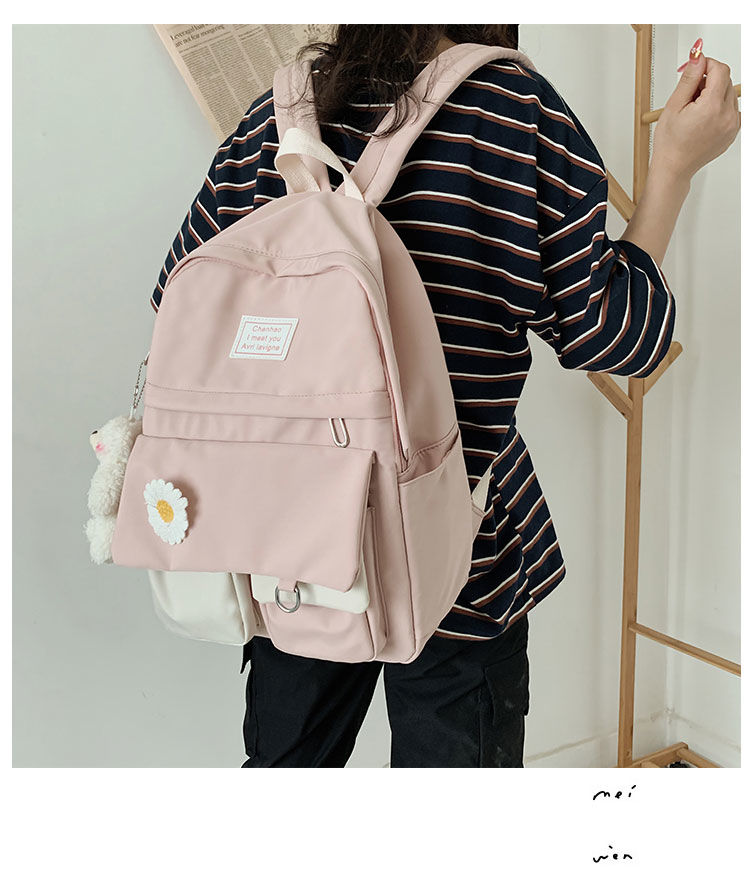 School Bags for Teenage Girls Backpack School Women Nylon Bookbags Soft Solid Panelled Flowers Student Schoolbag
