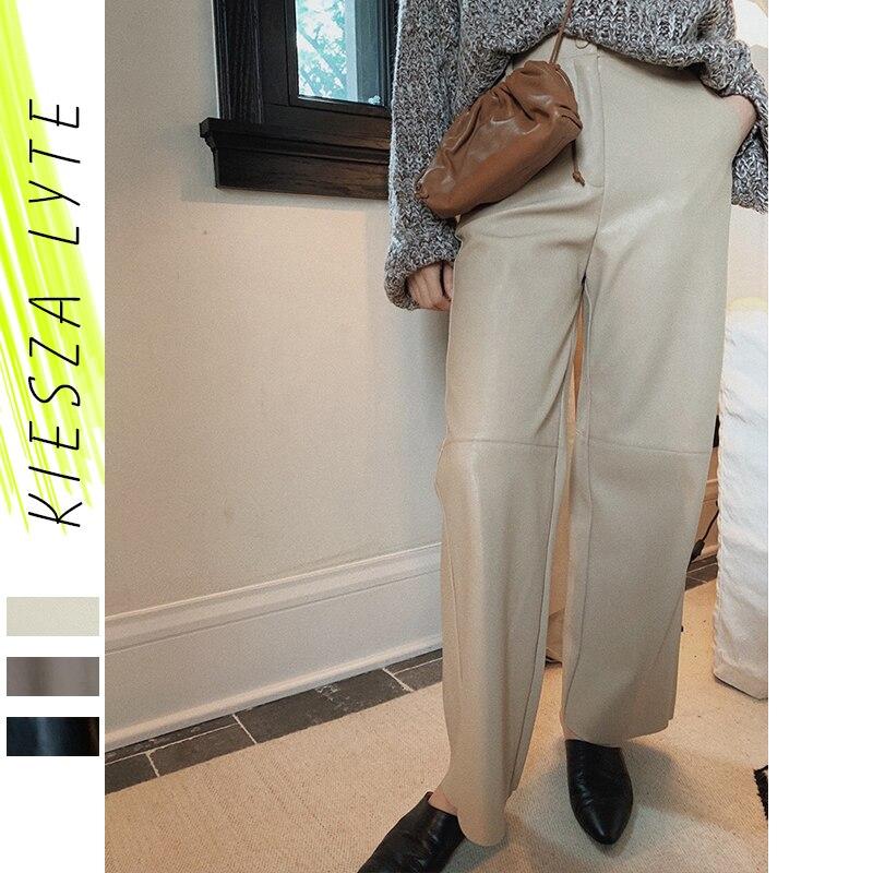 Hiver Faux PU cuir Pantalon femmes en cuir taille haute Anke-longueur bureau dames Pantalon droit décontracté femme Pantalon