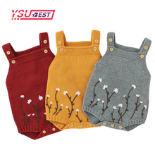 Girls Jumpsuits Rompers Embroidery Vintage Baby Children Sweaters Knitted Newborn Floral