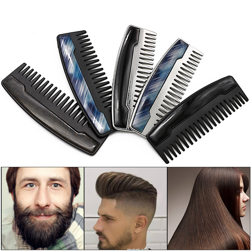 Wide Tooth Portable Comb Large Tooth Oil Head Comb Stainless Steel Beard Comb Beard Styling Comb Beard Trim Care Hair Comb G0114