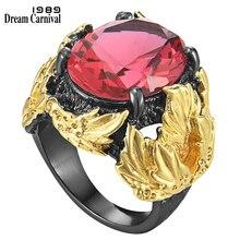 Dreamcarniment1989 Big Barroco anelli robusti per le donne fidanzamento di nozze deve avere zircone fucsia esagerato regali caldi WA11750FU