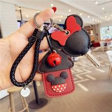 Disney Mickey Minnie Leather Keychain Cute Plush Key Chain Cartoon Card Holder Keychain Children Toys Fashion Women Key Chian
