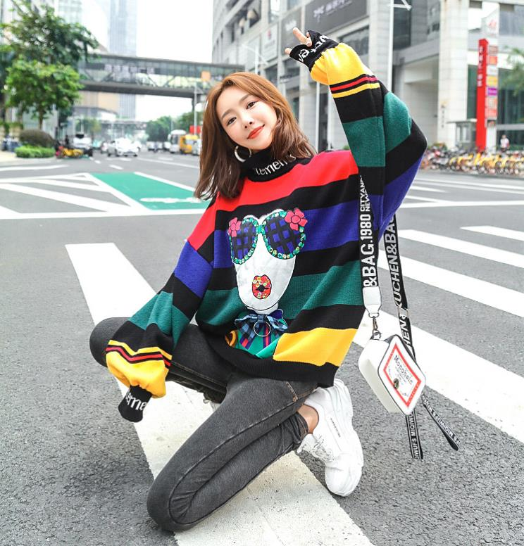 hodies mulher sweatshirt shein 2019 autumn and winter new high collar striped loose knit cartoon sweatershirt blouse in Hoodies amp Sweatshirts from Women 39 s Clothing