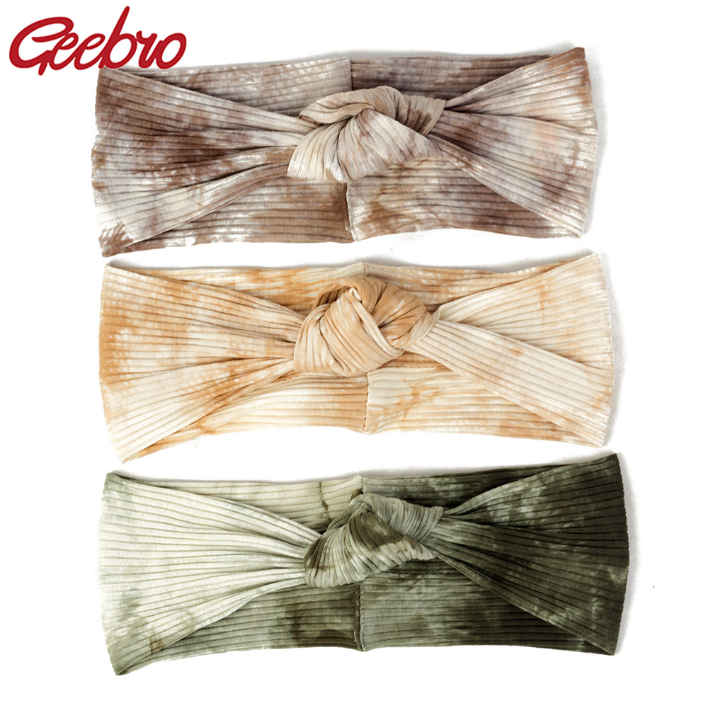 Geebro Women Casual Cotton Tie Dye Ribbed Headbands Ladies Soft Knotted Hair Bands Turban Hair Accessories For Adult Young Girls