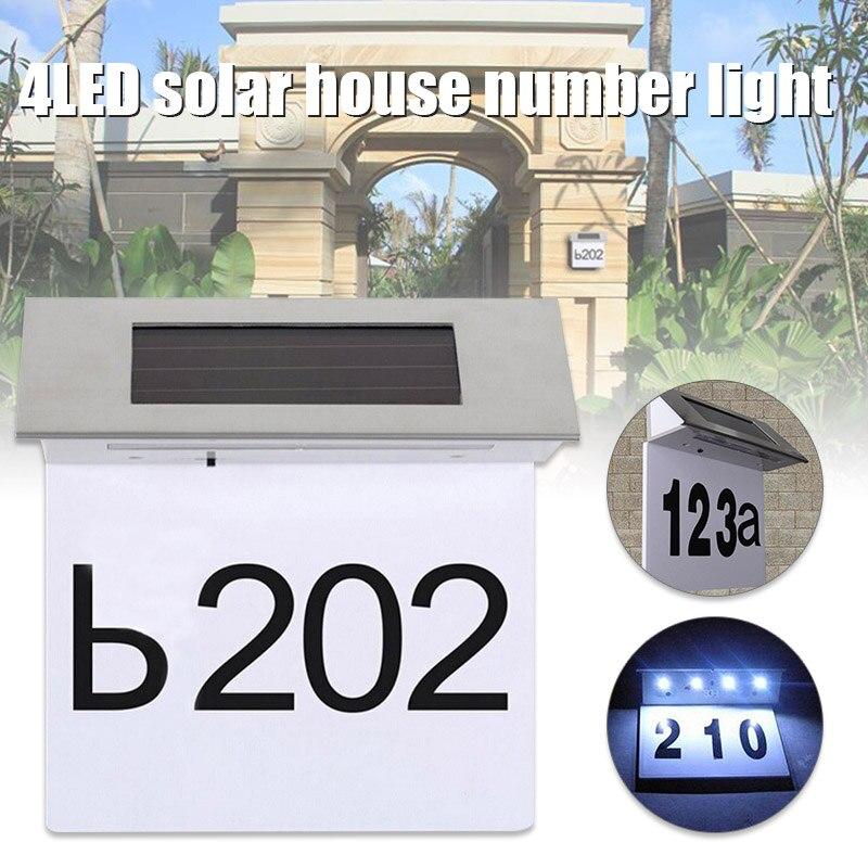 2019 venda quente 4led solar powered doorplate numero luz de aco inoxidavel ao ar livre parede
