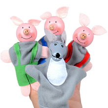 4PC Kids Finger Puppets Wood Little Pigs Wolf Mini Plush Baby Toy Educational Story Hand Puppet Dolls Finger Puppets Toys New montessori toys with challenges story of pigs and wolf logic thinking and motor skills three little pigs gift for kids