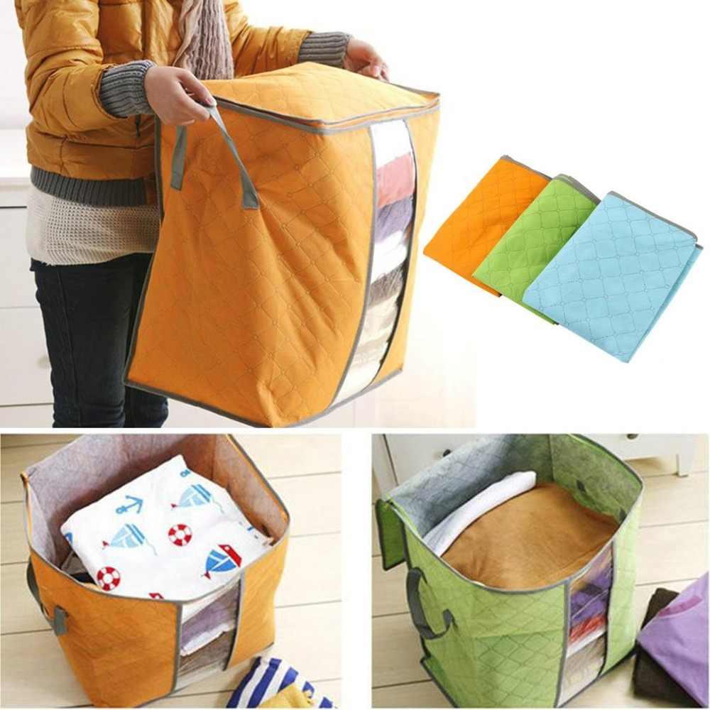 DROP Shipping 48*28*50 Bambu Pakaian Penyimpanan Casing Arang Penyimpanan Kotak Selimut Organizer Tempat Tidur Tas Tidak Ada Wooven -Tas