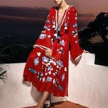 Fashion 2019 Summer Casual Tassel Plus Size Dress A-Line Vintage Long Sleeve Bohemian