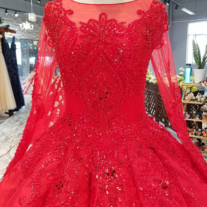 Image 4 - LS39411 vestido rojo largo hasta el suelo para novia, vestidos de fiesta de boda con cuello redondo, manga larga de tul con cordones en la espalda, vestido de noche plisado barato a precio real