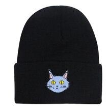 цена на Winfox New Cat Pattern Caps Animal Embroidery  Knitted Cap Beanie Hat Winter Warm Hats For Women men Gorra Hip hop Skull Bonnet