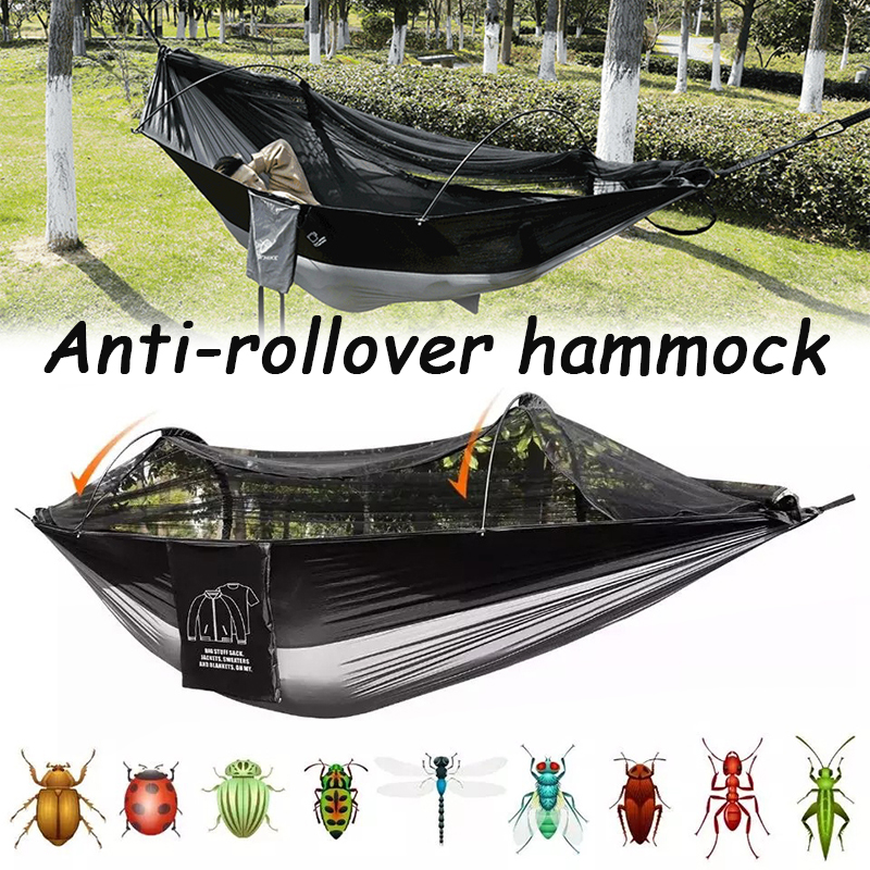 Portable Hammock Stable Outdoor Swing Breathable Foldable High Density Net Bed for Picnic Camping Traveling DFDS889
