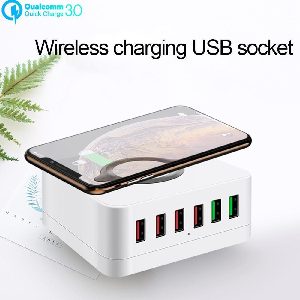 6 Port 72W QC 3.0 USB Wireless Charger Type C Quick Smart Mobile Phone Charger for iPhone X XS Sams