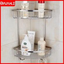 Corner Wall Mounted Stainless Steel Single & Double Bathroom Accessories Shelf Bathroom big Basket Double Bathroom Shelves недорого