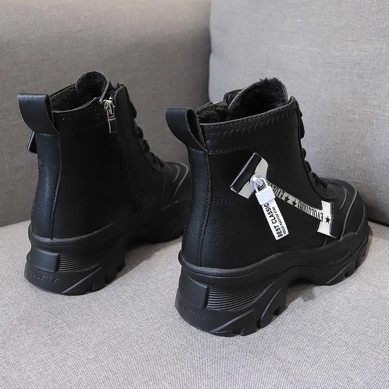 Artırın kısa çizmeler platformu Sneakers ayakkabı kadın günlük çizmeler kadınlar Boots şövalye çizmeler beyaz platform çizmeler