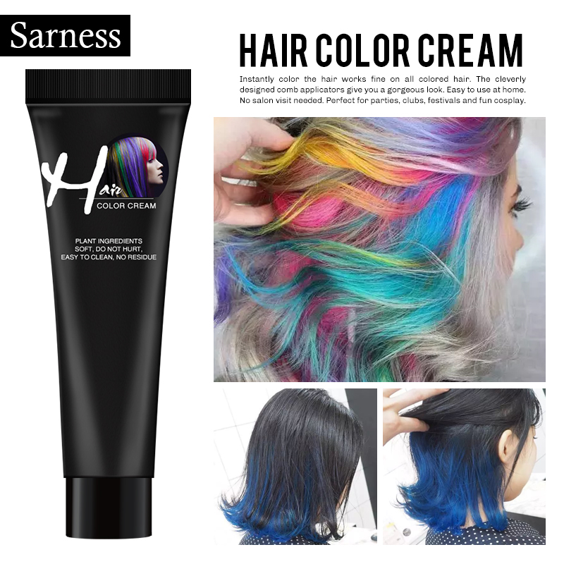 Sarness 1 Pcs No Irritation Hair Cream Color Dye Paint Long Lasing No Odor Hair Color Cream Hair Tint Colorant Semi Permanent image