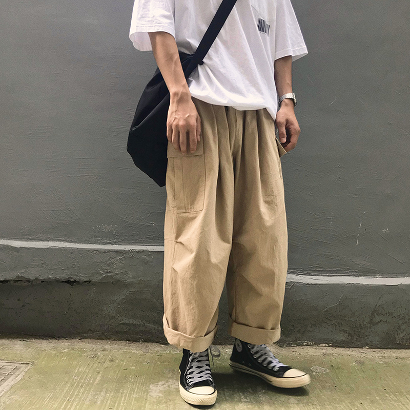 Men Casual Straight 2020 Japanese Cargo Pants Mens Loose Collage Wide Leg Pants Male Streetwear Trousers Buttoms
