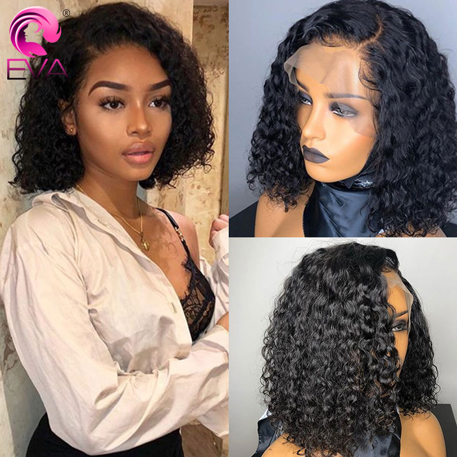 Eva Curly Short Lace Front Human Hair Wigs Pre Plucked With Baby Hair Brazilian Bob Lace Front Wig For Black Women Remy Hair Wig