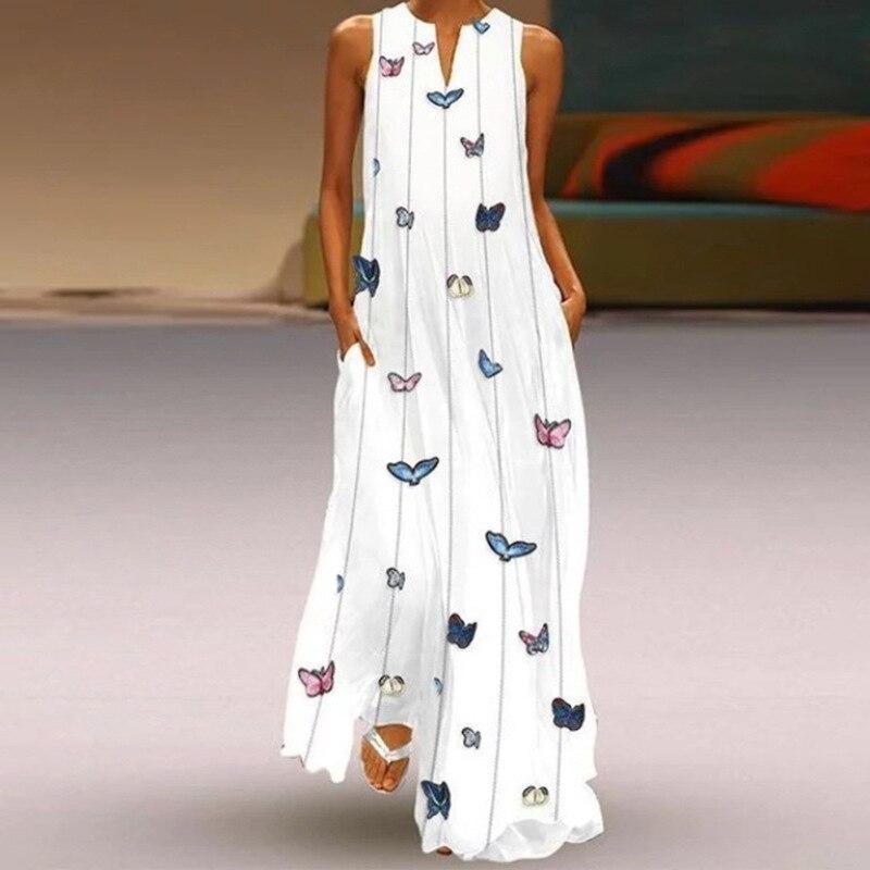 MOVOKAKA 2021 White Long Dress Women Mouth Print Vintage Sleeveless Elegant Dress Casual Plus Size Vestidos Girls Dresses Summer 32