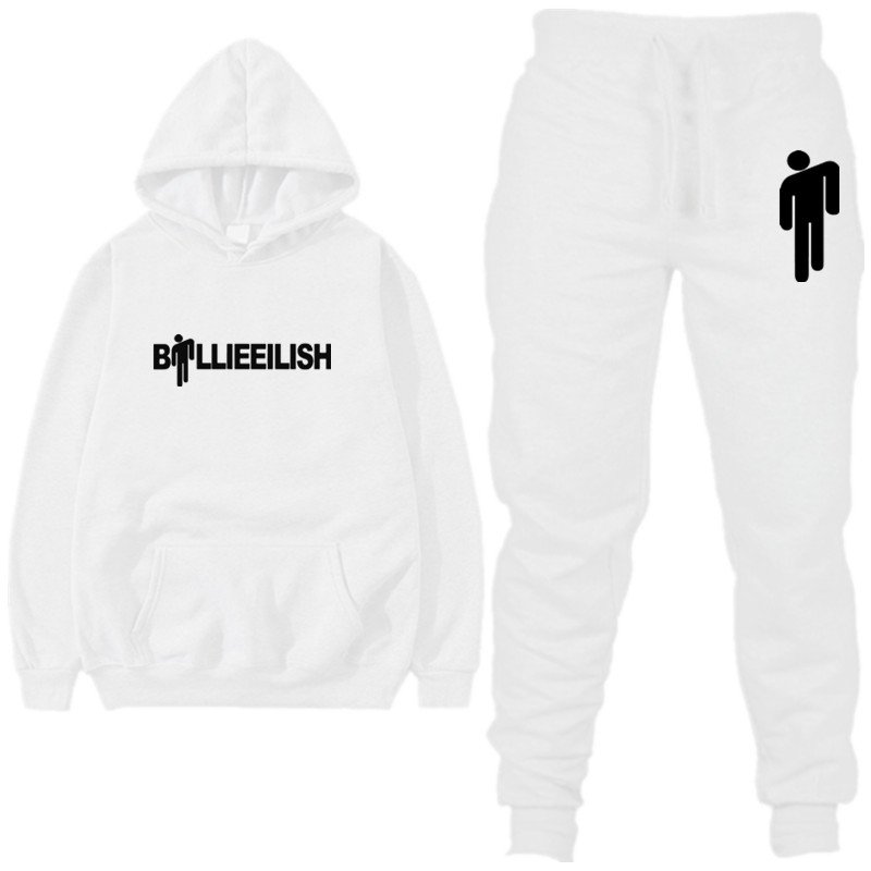 Fashion Billie Eilish Tracksuit Men Streetwear Hoodie Set Thermal Sportswear Sets Hoodies And Pants Suit Casual Sweatshirt Suit