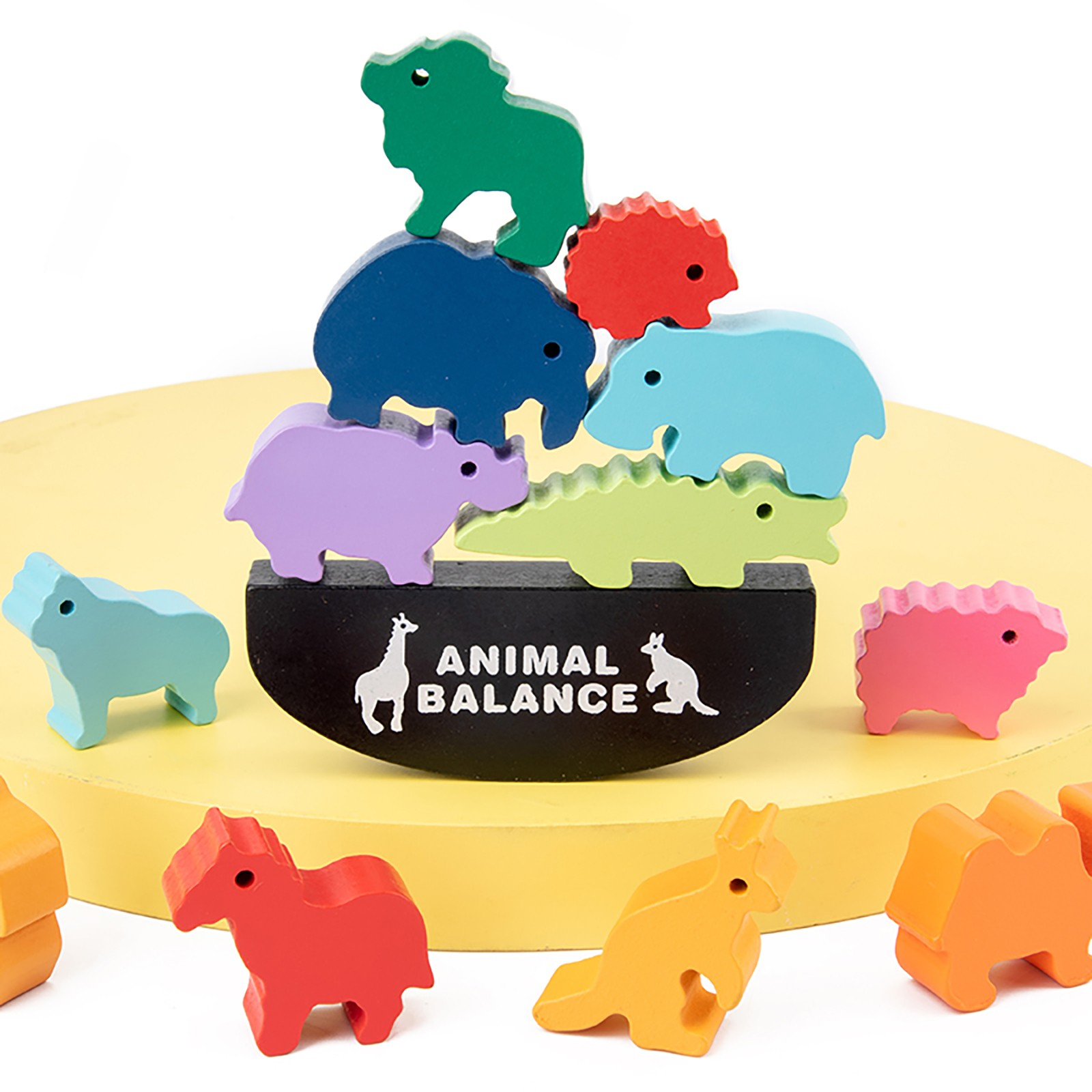 Wooden Animals Balance Training Puzzle Game Toy Kit Educational Preschool Toy Construction Toys Children Baby Puzzle Game Toy