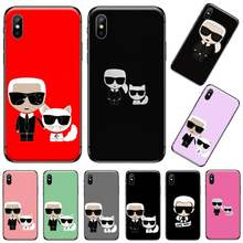 Lagerfeld Brand designer Cartoon character Cover Black Shell Phone Case For iphone 5 5s 5c se 6 6s 7 8 plus x xs xr 11 pro max(China)