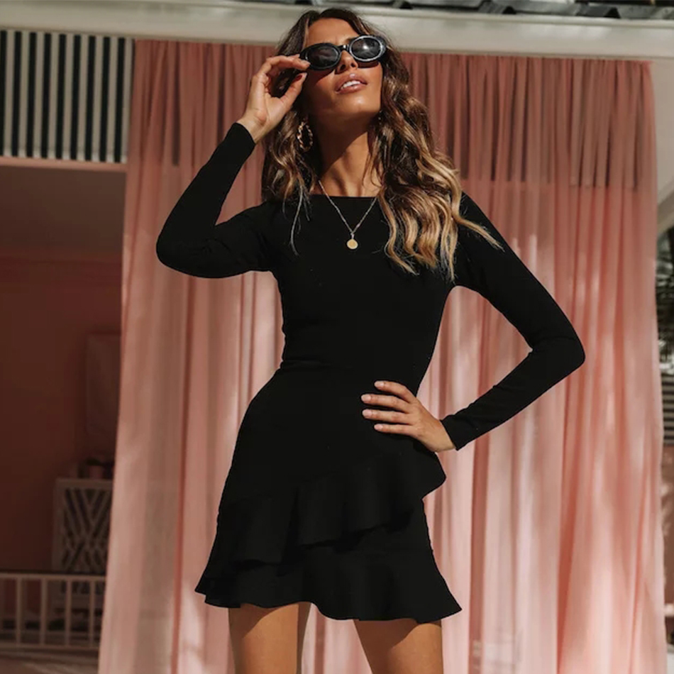 Adyce 2020 New Spring Black Bandage Dress Women Sexy Long Sleeve Ruffles Mini Club Dress Vestidos Elegant Celebrity Party Dress