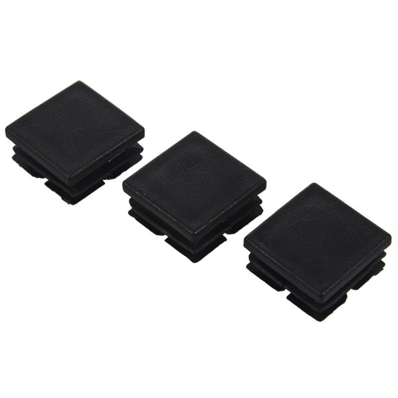 ELEG-Square Table Chair Leg Tube Pipe Feet Insert Cap 25mmx25mm 20pcs Black