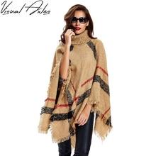 [Eixos visuais] 2020 nova moda feminina inverno quente lã xadrez tricô poncho 7 cores fornecidas