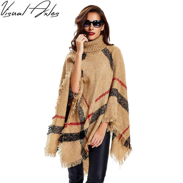 [Visual Axles] 2020 New Fashion Women Winter Warm Wool Plaid Knitting Poncho 7 Colors Provided
