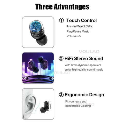 Wireless Headphones Bluetooth V5.0 TWS Earphones Touch Control 9D Stereo Bass Earbuds For IOS Android Fone de ouvido bluetooth Karachi