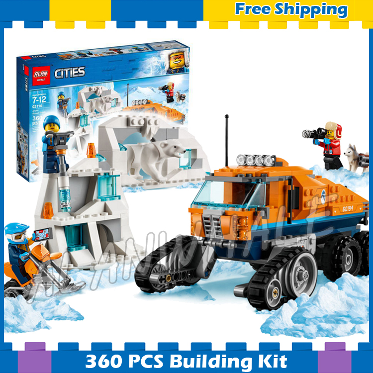 360pcs City Arctic Scout Truck Snow bike Ice Cave Wall Polar bear 10995 Figure Building Blocks Boys Toys Compatible With Lago image