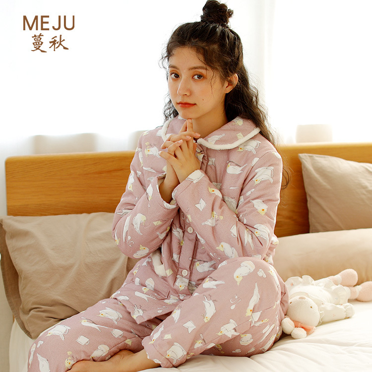 Meju Pajamas Women's Autumn And Winter Set Japanese-style Household New Style Cute WOMEN'S Long Sleeve Loose-Fit Warm Tracksuit